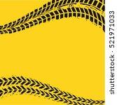 black wheel prints in yellow... | Shutterstock .eps vector #521971033