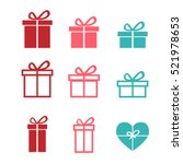 set of gift icons and symbol ...
