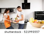 couple in kitchen couple | Shutterstock . vector #521993557