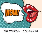 female lips in pop art style... | Shutterstock .eps vector #522003943