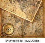 compass on old map | Shutterstock . vector #52200586