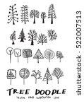 set of tree doodles vector | Shutterstock .eps vector #522007513