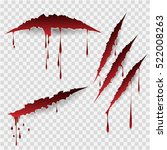 bloody scratches. vector... | Shutterstock .eps vector #522008263