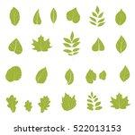 flat leaves icons. vector... | Shutterstock .eps vector #522013153