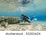 Young female diver in clear shallow water observing a coral reef. Sharm el Sheikh, Red Sea, Egypt. - stock photo