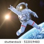 rocking astronaut on a black... | Shutterstock . vector #522019483