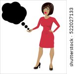 cartoon woman with thought... | Shutterstock .eps vector #522027133