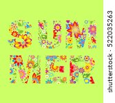 summery floral print | Shutterstock .eps vector #522035263