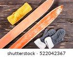 overhead view of retro ski... | Shutterstock . vector #522042367