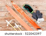 overhead view of retro ski... | Shutterstock . vector #522042397