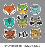 collection of stickers with... | Shutterstock .eps vector #522045313
