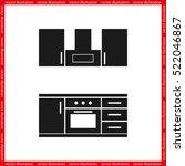drawing kitchen interior plan... | Shutterstock .eps vector #522046867