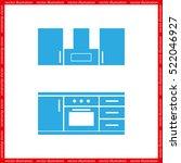 drawing kitchen interior plan... | Shutterstock .eps vector #522046927