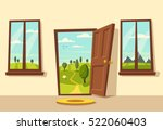 open door. valley landscape.... | Shutterstock .eps vector #522060403