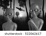 Small photo of Black and white three alien newcomers on a wilderness and flying spaceship on sky