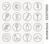 hairdressing thin line icon set | Shutterstock .eps vector #522070003