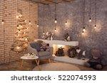 modern interior of living room. ... | Shutterstock . vector #522074593
