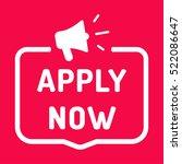 apply now. badge with megaphone ... | Shutterstock .eps vector #522086647