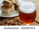 a glass of cold foamy beer with ... | Shutterstock . vector #522087913
