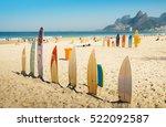 surfboards at ipanema beach ... | Shutterstock . vector #522092587