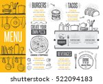 Cafe menu food placemat brochure, restaurant template design. Creative vintage brunch flyer with hand-drawn graphic.  | Shutterstock vector #522094183