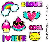 Stock vector set of cute stickers and different elements with watermelon rainbow cake heart cat and words 522108523