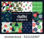 Christmas and New Year Set. Abstract geometric and ornamental seamless patterns. Trendy Hand Drawn textures. Vector Design Templates Collection for Banner, Paper