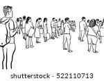 people waiting in line cartoon... | Shutterstock . vector #522110713