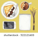 notebook  mobile phone  cup of...   Shutterstock . vector #522121603