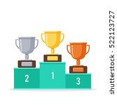 winners podium with gold ... | Shutterstock .eps vector #522123727