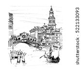 grand canal near bridge ponte... | Shutterstock . vector #522133093