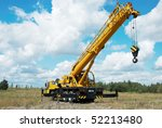 yellow automobile crane with... | Shutterstock . vector #52213480