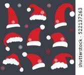 set of chalkboard santa hats | Shutterstock .eps vector #522137263