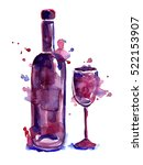 wineglass with bottle. | Shutterstock . vector #522153907
