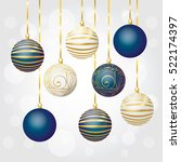 a set of christmas balls. new... | Shutterstock .eps vector #522174397