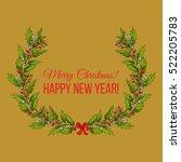 holly and mistletoe wreath.... | Shutterstock .eps vector #522205783