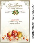 christmas card with ball and... | Shutterstock .eps vector #522232027