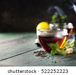 hot tea cup with mint and sugar ... | Shutterstock . vector #522252223