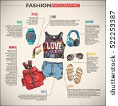 fashion infographic with... | Shutterstock .eps vector #522253387