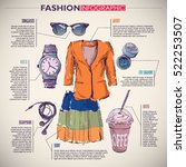 fashion infographic with... | Shutterstock .eps vector #522253507