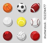 sports balls. vector cartoon... | Shutterstock .eps vector #522256477