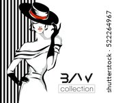 Black and white fashion woman model with boutique logo background. Hand drawn vector illustration | Shutterstock vector #522264967