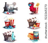 set of 3d cartoon cinema design ... | Shutterstock .eps vector #522265273