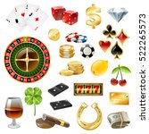 dice poker chips casino... | Shutterstock .eps vector #522265573