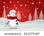 a snowman on a red snowflake... | Shutterstock .eps vector #522279187