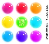 set of glowing colorful... | Shutterstock .eps vector #522281533