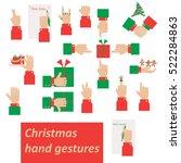 set of christmas hand gestures  | Shutterstock .eps vector #522284863