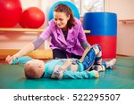 cute kid with disability has... | Shutterstock . vector #522295507