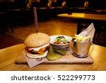 Tasty Steak Burger With Ham...