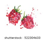 raspberry with juicy splashes. | Shutterstock . vector #522304633